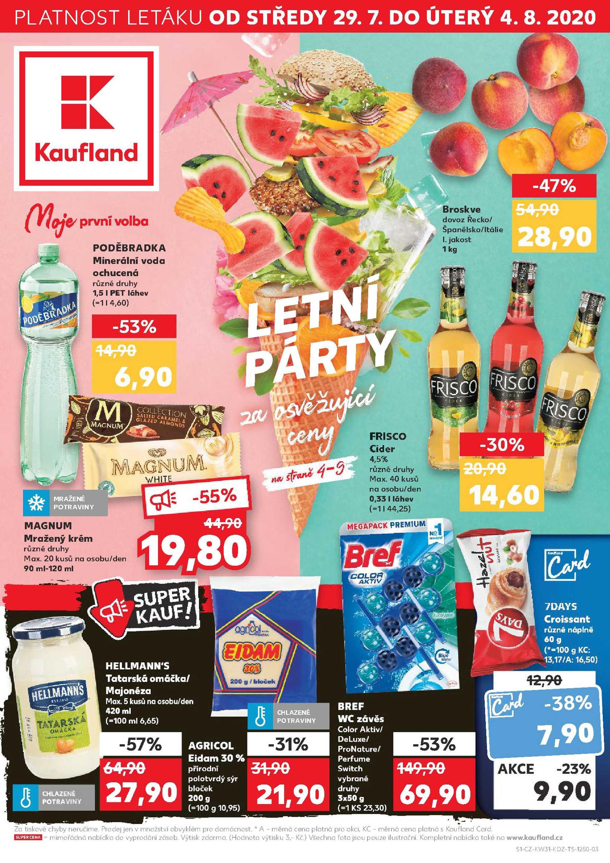 Kaufland - promo od 29.07.2020 do 04.08.2020 - stránka 1.